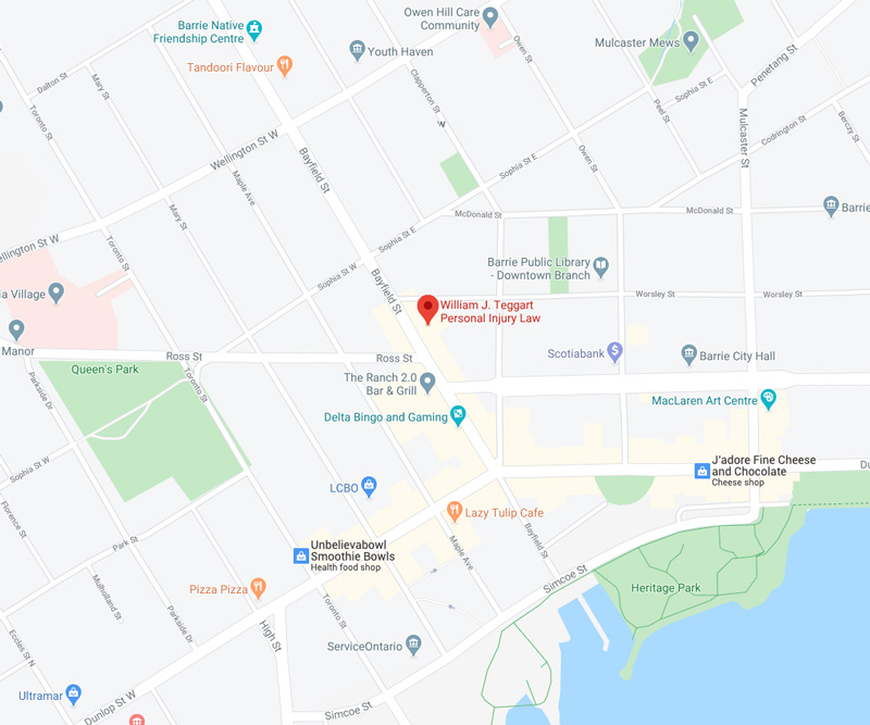 Map of Teggart Injury Law Location